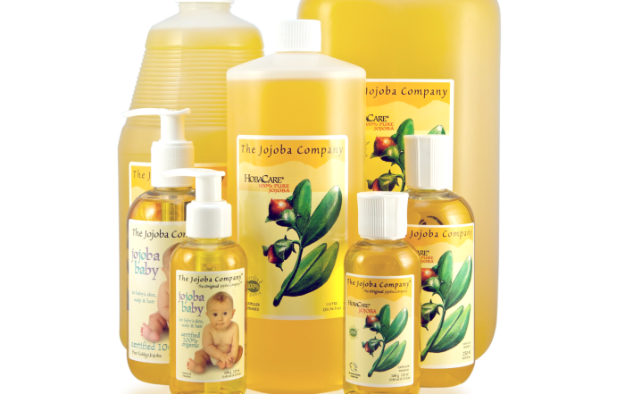 Jojoba Company skin care  products with white background